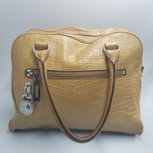 Michael MK Knox Tan Croc Embossed Zipper Satchel
